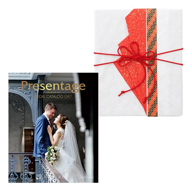 カタログ式ギフト プレゼンテージブライダル ノクターン+有料ラッピング(赤色の扇と飾紐) メイン画像