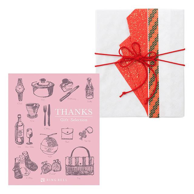 カタログ式ギフト サンクス Whip Pink・ホイップピンク+有料ラッピング(赤色の扇と飾紐)