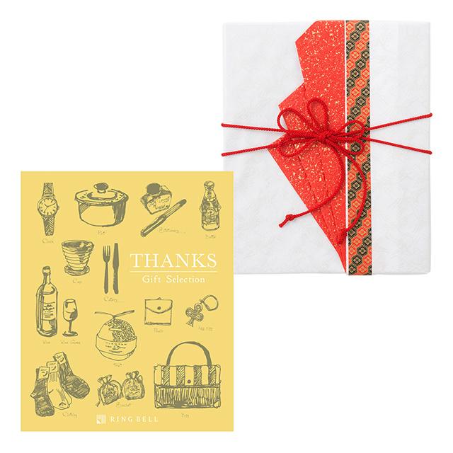 カタログ式ギフト サンクス Mimosa Yellow・ミモザイエロー+有料ラッピング(赤色の扇と飾紐)