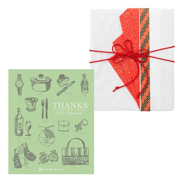 カタログ式ギフト サンクス Olive Green・オリーブグリーン+有料ラッピング(赤色の扇と飾紐) メイン画像