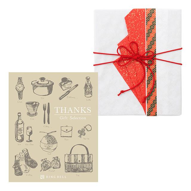 カタログ式ギフト サンクス Silk Bronze・シルクブロンズ+有料ラッピング(赤色の扇と飾紐)
