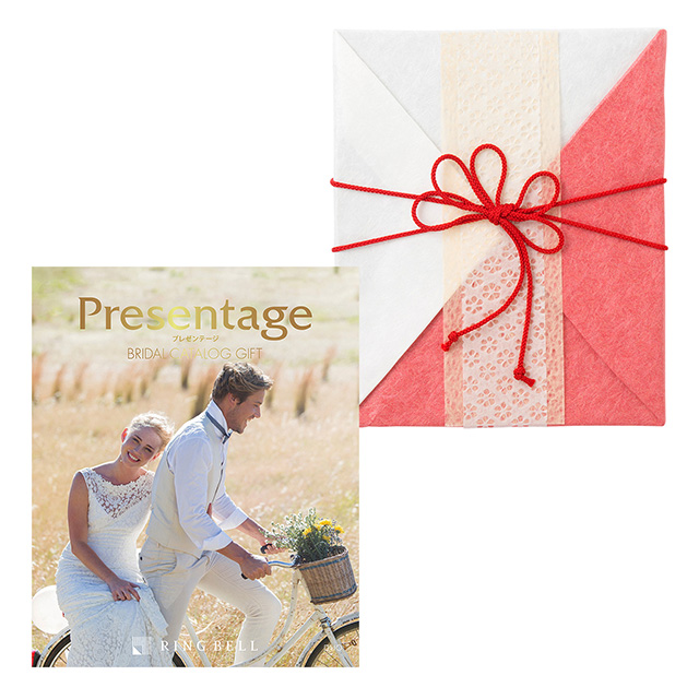 カタログ式ギフト プレゼンテージブライダル デュオ+有料ラッピング(紅白貼合せと飾紐) メイン画像