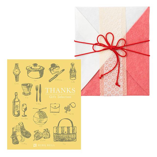 カタログ式ギフト サンクス Mimosa Yellow・ミモザイエロー+有料ラッピング(紅白貼合せと飾紐) メイン画像