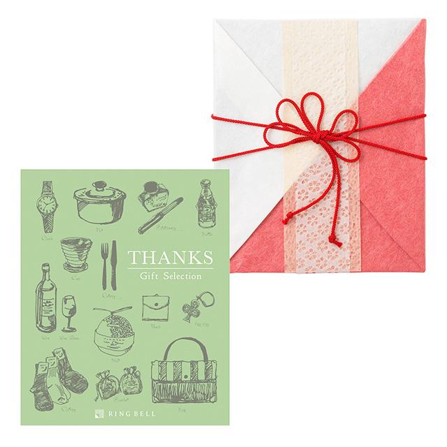 カタログ式ギフト サンクス Olive Green・オリーブグリーン+有料ラッピング(紅白貼合せと飾紐)