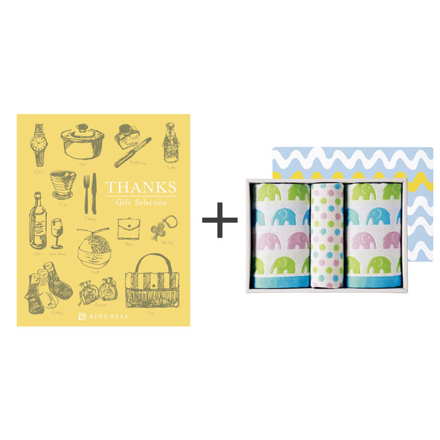 カタログ式ギフト サンクス ミモザイエロー+ジャカード織タオル3枚セット メイン画像