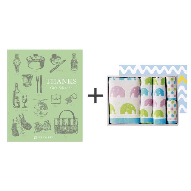 カタログ式ギフト サンクス オリーブグリーン+ジャカード織タオル5枚セット メイン画像