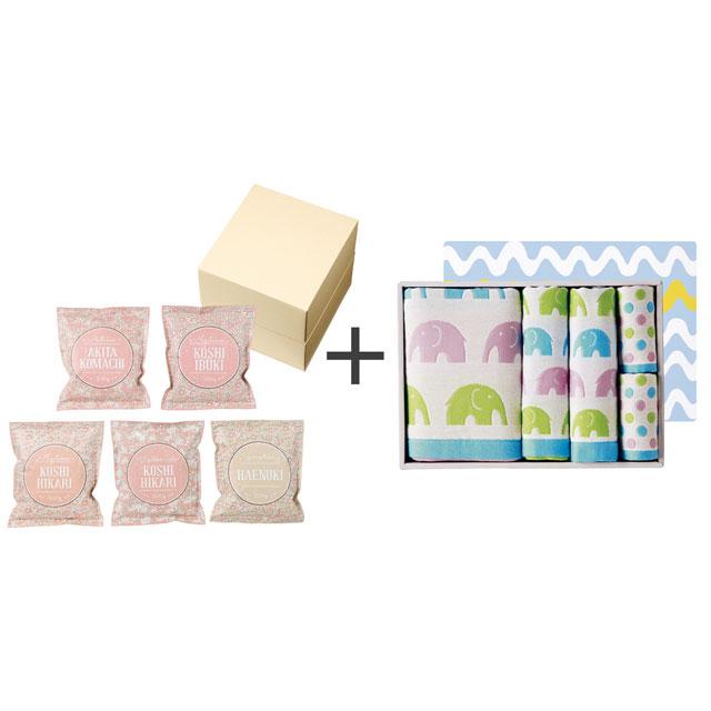 和紙風花柄パック米詰合せ+ジャカード織タオル5枚セット