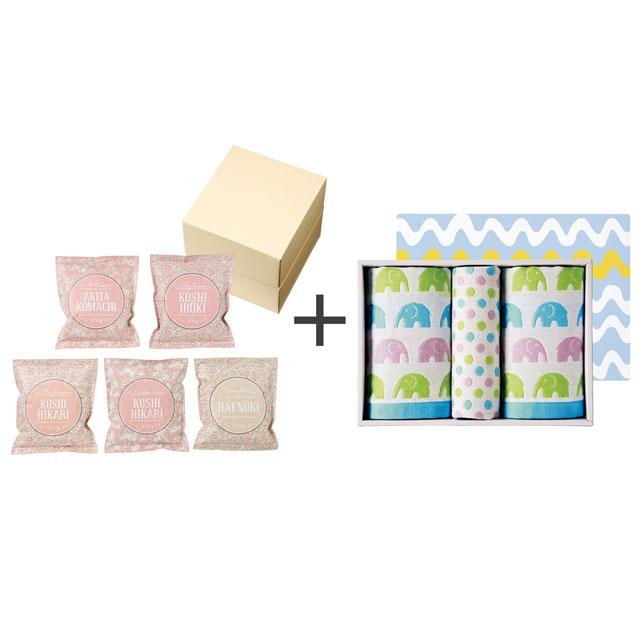 和紙風花柄パック米詰合せ+ジャカード織タオル3枚セット メイン画像