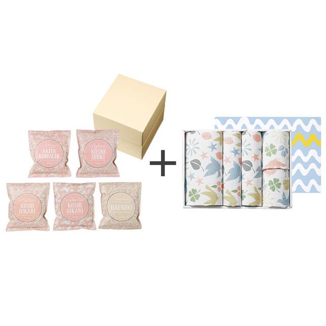 和紙風花柄パック米詰合せ+タオル5枚セット