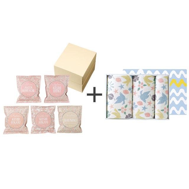 和紙風花柄パック米詰合せ+タオル3枚セット メイン画像